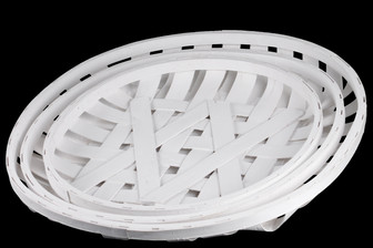 UTC58503 Wood Round Tobacco Basket with Lattice Design Set of Three Painted Finish White