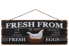 "UTC58602 Wood Rectangle Wall Art with Printed ""FRESH FROM THE FARM"", Distressed Edges and Key Hole Back and Top Rope Hanger Painted Finish Black"