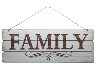 "UTC58613 Wood Rectangle Wall Art with Printed ""Family"", Rounded Corners and Front Rope Hanger Smooth Finish White"