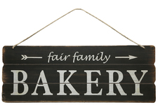 "UTC58614 Wood Rectangle Wall Art with Printed ""FAIR FAMILY BAKERY"", Rounded Corners and Front Top Rope Hanger Smooth Finish Black"