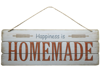 "UTC58616 Wood Rectangle Wall Art with Colored Printed ""Happiness is Homemade"", Rounded Corners and Front Top Rope Hanger Smooth Finish White"
