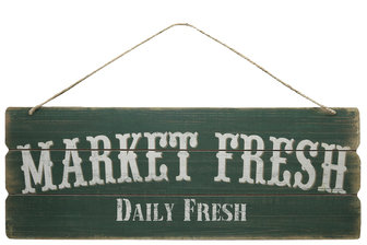 "UTC58617 Wood Rectangle Wall Art with Printed ""MARKET FRESH"", Rounded Corners and Front Top Rope Hanger Smooth Finish Green"