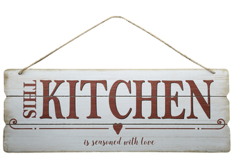 "UTC58618 Wood Rectangle Wall Art with Colored Printed ""This Kitchen"", Round Corners and Front Top Rope Hanger Smooth Finish White"