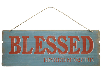"UTC58620 Wood Rectangle Wall Art with Colored Printed ""BLESSED BEYOND MEASURE"", Rounded Corners and Front Top Rope Hanger Smooth Finish Sky Blue"