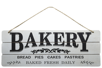 "UTC58622 Wood Rectangle Wall Art with Printed ""BAKERY BAKED FRESH DAILY, Rounded Corners and Front Top Rope Hanger Smooth Finish White"