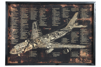 "UTC58624 Wood Rectangle Wall Art with Frame and Printed ""BOEING E-4B"" Smooth Finish Black"