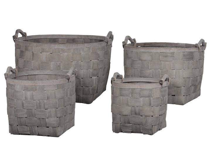 UTC58700 Wood Round Basket with Tied Side Handles and Lattice Design Body Set of Four Weathered Finish Gray