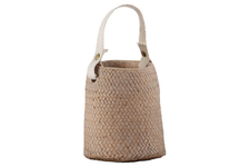 UTC58906 Cement Distorted Round Pot with Cotton Strap Handle, Brass Rivets and Basket Weave Design Body Washed Finish Apricot