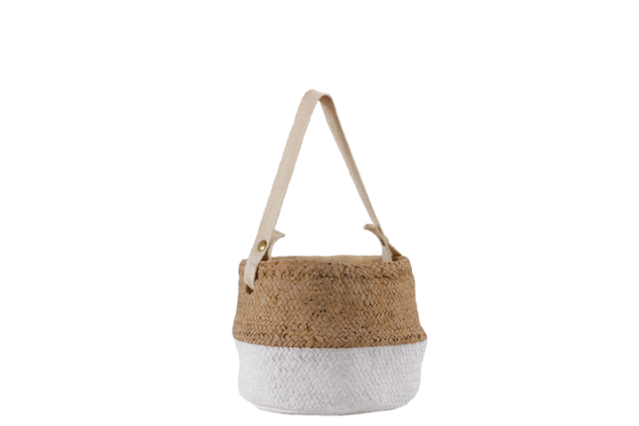 UTC58907 Cement Distorted Round Pot with Cotton Strap Handle, Brass Rivets and Basket Weave Design Body, and White Banded Bottom MD Painted Finish Brown