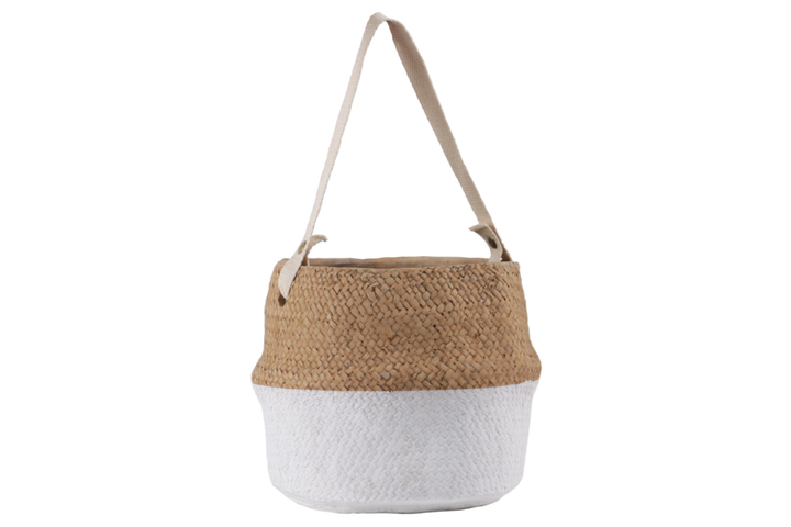 UTC58908 Cement Distorted Round Pot with Cotton Strap Handle, Brass Rivets and Basket Weave Design Body, and White Banded Bottom LG Painted Finish Brown