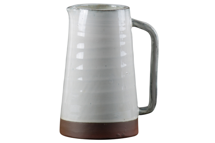 UTC59110 Ceramic Pitcher with Ribbed Glaze Design Body on Brown Banded Rim Base, Shiny Finish White