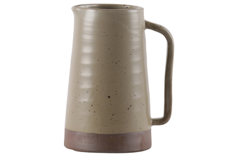 UTC59111 Ceramic Pitcher with Ribbed Speckle Design Body on Brown Banded Rim Base, Matte Finish Khaki