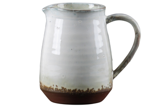 UTC59113 Ceramic Pitcher with Ribbed Glaze Body Design on Brown Banded Rim Base, Shiny Finish White