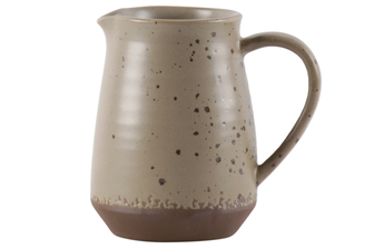 UTC59114 Ceramic Pitcher with Ribbed Speckle Body Design on Brown Banded Rim Base, Matte Finish Khaki