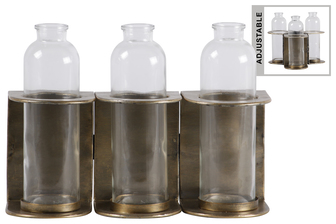 UTC59200 Metal Hinged Bud Vase Holder with 3 Glass Bottle Vases Anitque Finish Gold