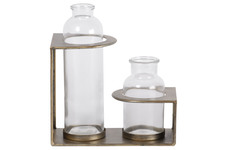 UTC59203 Metal Bud Vase Holder with Tall and Short Glass Bottle Vases Anitque Finish Gold