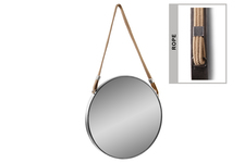 UTC59204 Metal Round Mirror with Rope Hanger Tarnished Finish Silver