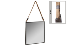 UTC59210 Metal Square Mirror with Rope Hanger Tarnished Finish Black