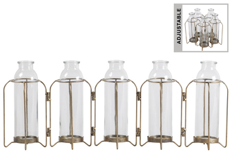 UTC59212 Metal Hinged Bud Vase Holder with 5 Glass Bottle Vases Anitque Finish Gold