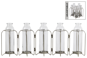 UTC59213 Metal Hinged Bud Vase Holder with 5 Glass Bottle Vases Anitque Finish Gray