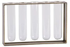 UTC59218 Metal Hanging Bud Vase Holder with 5 Glass Tube Vases Anitque Finish Gold