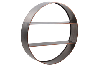 UTC59221 Metal Round Wall Shelf with Two Shelves and Copper Edges Design Galvanized Finish Gray