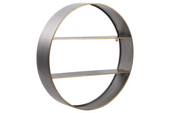 UTC59222 Metal Round Wall Shelf with Two Shelves and Copper Edges Design Galvanized Finish Silver