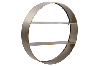 UTC59223 Metal Round Wall Shelf with Two Shelves and Copper Edges Design Galvanized Finish Gold