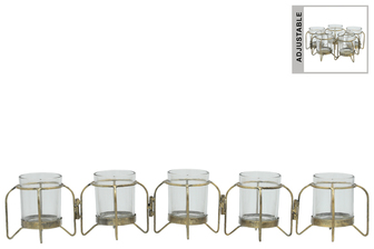 UTC59226 Metal Hinged Candle Holder with 5 Glass Bottle Vases Anitque Finish Gold