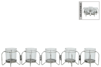 UTC59227 Metal Hinged Candle Holder with 5 Glass Bottle Vases Anitque Finish Silver