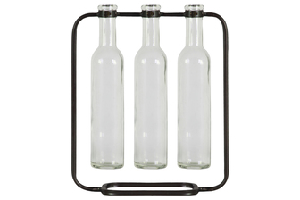 UTC59228 Metal Clustered Hanging Bud Vase with 3 Tall Glass Bottle Vases on Capsular Base Metallic Finish Gunmetal Gray