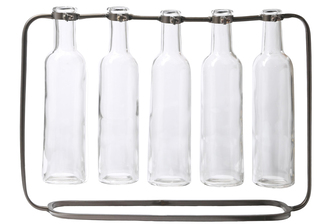 UTC59232 Metal Clustered Hanging Bud Vase with 5 Tall Glass Bottle Vases on Capsular Base Metallic Finish Gunmetal Gray