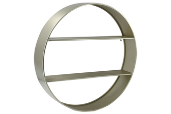 UTC59234 Metal Round Wall Shelf with Two Tiers Coated Finish Champagne