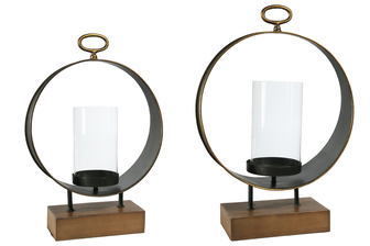 UTC59235 Metal Round Candle Holder with Top Ring Handle and Glass Holder on Rectangular Wood Base Set of Two Antique Finish Copper
