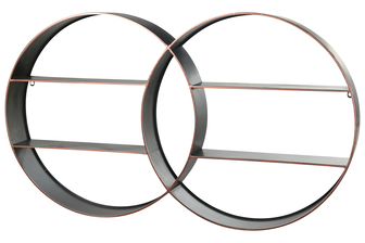 UTC59236 Metal Round Interlocking Wall Shelf with 4 Tiers, Copper Edges and Back Ring Hangers Antique Finish Silver