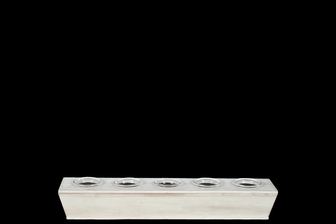 UTC59242 Wood Rectangle Candle Holder with Submerged Glass Holder and Tapered Bottom SM Washed Finish Beige