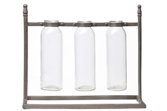 UTC59248 Metal Rectangle Bud Vase Holder with Hanging Glass Bottles on Base Metallic Finish Copper