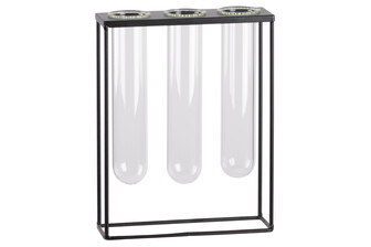 UTC59254 Metal Clustered Hanging Bud Vase Holder with 3 Medium Glass Tube Vases Coated Finish Black