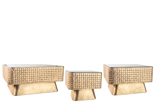 UTC59256 Metal Square Stand with Mirror Top, Weaving Design Body and Flared Bottom Set of Three Antique Finish Gold