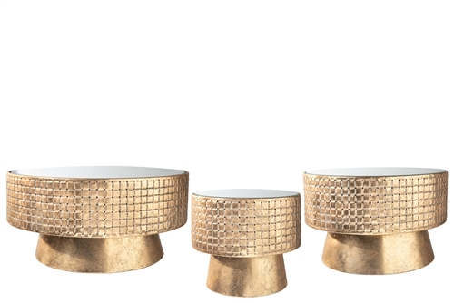 UTC59257 Metal Round Stand with Mirror Top, Weaving Design Body and Flared Bottom Set of Three Antique Finish Gold