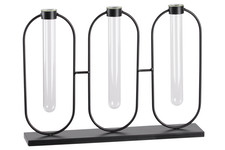 UTC59300 Metal Clustered Bud Vase Holder with 3 Small Glass Tube Vases Hanging on Round Stand and Flat Base Coated Finish Black
