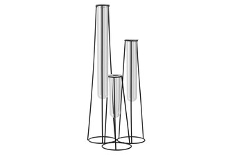 UTC59303 Metal Bud Vase Holder with Hanging Glass Tube Vases on Round Stand Coated Finish Black