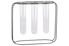 UTC59304 Metal Clustered Hanging Bud Vase Holder with 3 Large Glass Tube Vases on Round Stand Coated Finish Black