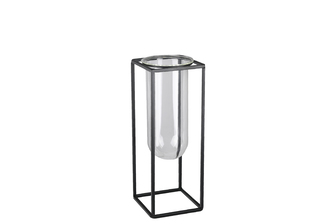 UTC59314 Metal Square Vase with Hanging Clear Tube Glass SM Coated Finish Black