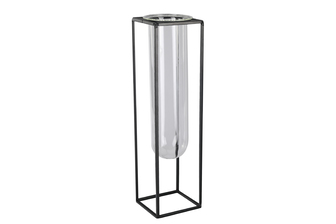 UTC59315 Metal Square Vase with Hanging Clear Tube Glass LG Coated Finish Black