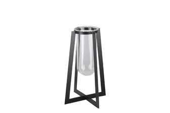 UTC59316 Metal Square Vase with Hanging Clear Tube Glass and Flaired Bottom SM Coated Finish Black