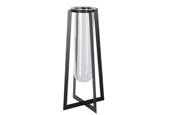 UTC59317 Metal Square Vase with Hanging Clear Tube Glass and Flaired Bottom LG Coated Finish Black