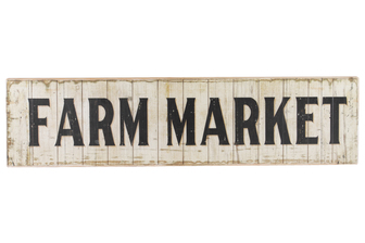 "UTC59400 Wood Rectangle Wall Art with ""Farm Market"" Writing Design and 2 Metal Back Hangers Distressed Finish Beige"