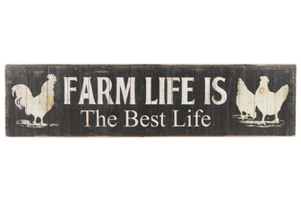 "UTC59401 Wood Rectangle Wall Art with ""Farm Life is the Best Life"" Writing Design and 2 Metal Back Hangers Distressed Finish Black"