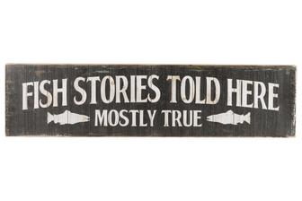 "UTC59402 Wood Rectangle Wall Art with ""Fish Stories Told Here"" Writing Design and 2 Metal Back Hangers Distressed Finish Black"